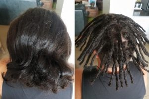 Dreadlocks installation half head