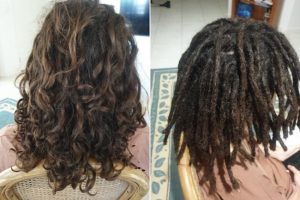starting dreadlocks below shoulders by Amelia Brisbane before after