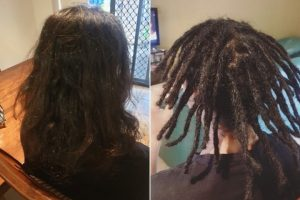 Dread installation shoulders length Brisbane before after